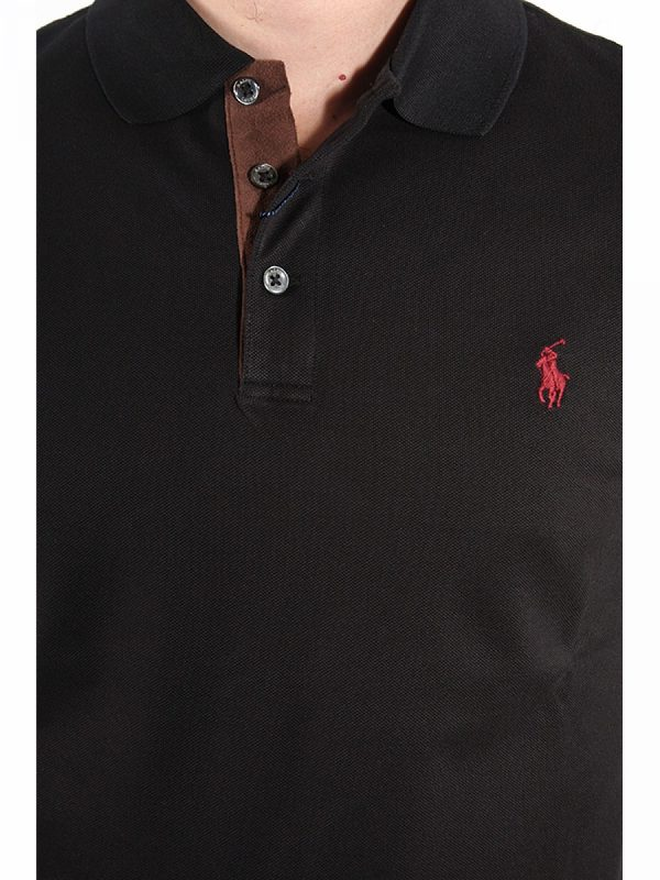 RALPH LAUREN POLO MΜ SLIM FIT STRETCH MESH ΜΑΥΡΟ