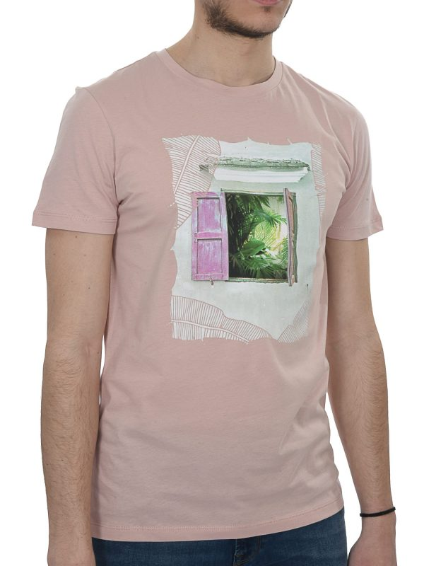 BOSS CASUAL T-SHIRT KM TAUNO 6 ΡΟΖ