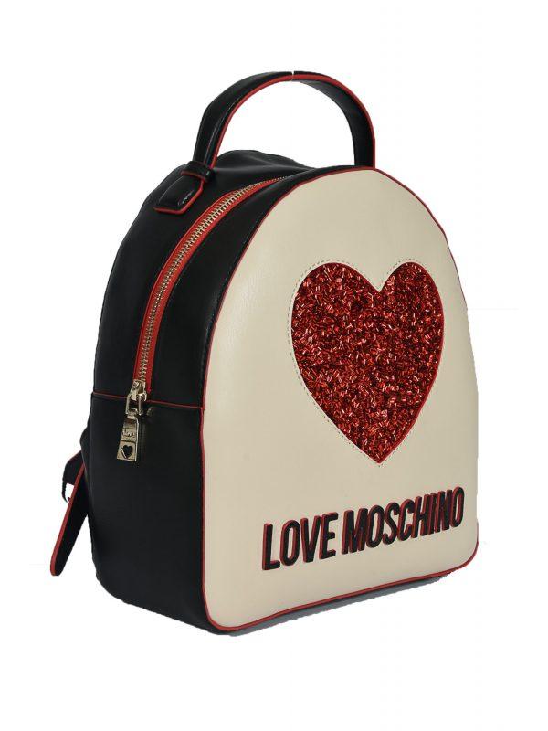 LOVE MOSCHINO ΤΣΑΝΤΑ BACK PACK RED HEART ΜΠΕΖ/ΜΑΥΡΟ