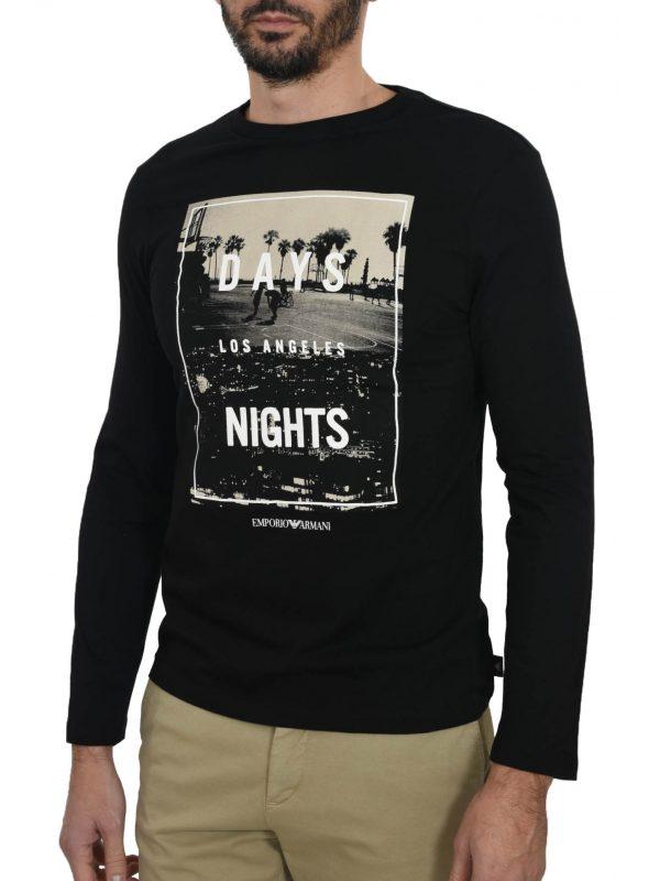 EMPORIO ARMANI T-SHIRT L.A. DAYS & NIGHTS ΜΑΥΡΟ