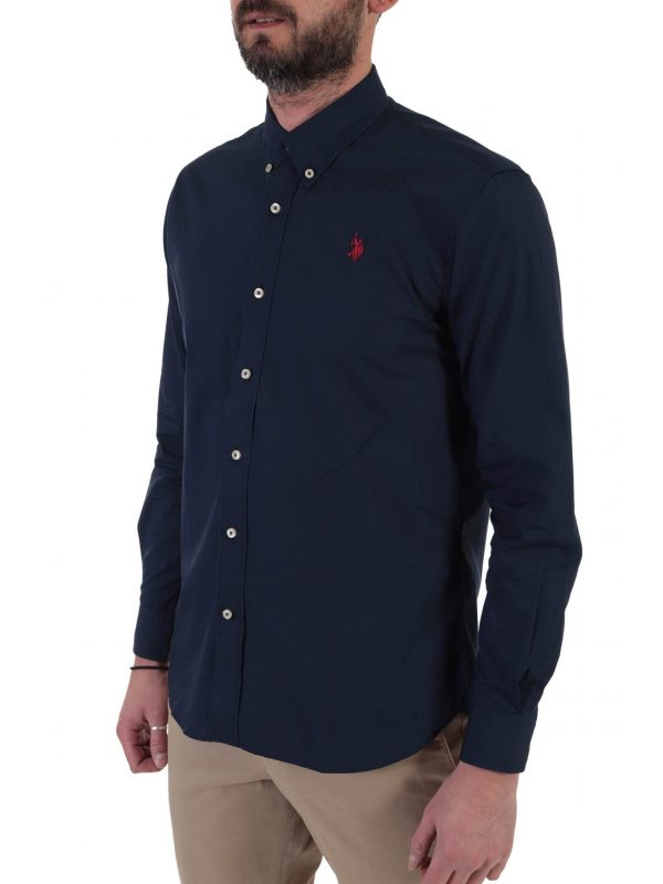 U.S. POLO ASSN ΠΟΥΚΑΜΙΣΟ BUTTON DOWN REGULAR FIT KUSTAVI ΜΠΛΕ
