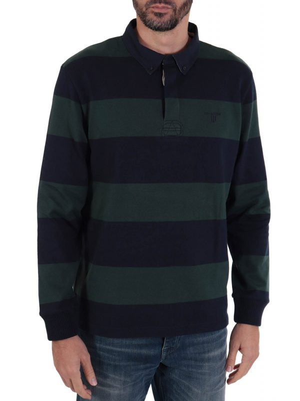 NAVY&GREEN POLO ΡΙΓΕ CYSTOM FIT TWO PLY ΠΡΑΣΙΝΟ