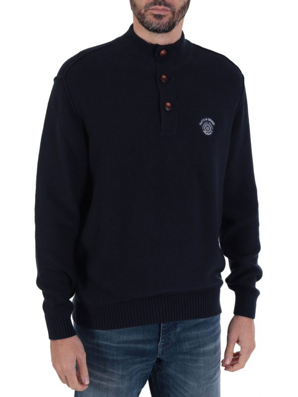 NAVY & GREEN ΠΛΕΚΤΟ HALF ZIP BUTTON ΜΠΛΕ