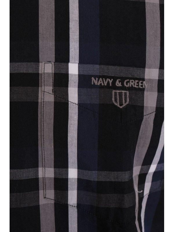 NAVY & GREEN ΠΟΥΚΑΜΙΣΟ COMFORT FIT ΚΑΡΩ ΜΠΛΕ
