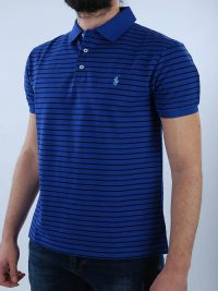 RALPH LAUREN POLO KM SLIM FIT ΡΙΓΕ STRETCH MESH ΜΠΛΕ