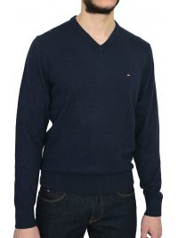 TOMMY HILFIGER ΠΛΕΚΤΟ V-NECK PIMA COTTON CASHMERE ΜΠΛΕ