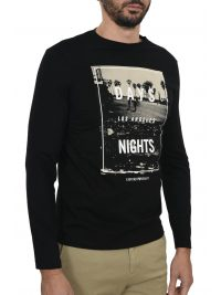 EMPORIO ARMANI T-SHIRT L.A. DAYS & NIGHTS ΜΑΥΡΟ