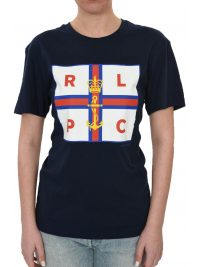 RALPH LAUREN T-SHIRT LOGO FLAG NAVY ΜΠΛΕ