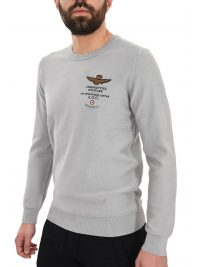 AERONAUTICA MILITARE ΠΛΕΚΤΟ ROUND NECK REGULAR FIT LOGO ΓΚΡΙ
