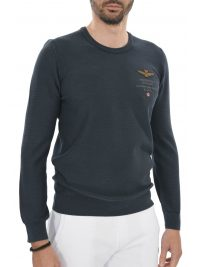 AERONAUTICA MILITARE ΠΛΕΚΤΟ ROUND NECK REGULAR FIT LOGO ΜΠΛΕ
