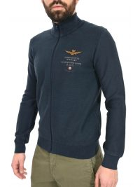 AERONAUTICA MILITARE ΠΛΕΚΤΟ FULL ZIP REGULAR FIT LOGO ΜΠΛΕ
