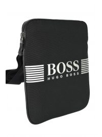 BOSS BUSINESS ΤΣΑΝΤΑΚΙ CROSSBODY PIXEL S ZIP ENV ΜΑΥΡΟ-AΣΗΜΙ