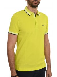 BOSS ATHLEISURE POLO ΚΜ PADDY REGULAR FIT FLUO ΚΙΤΡΙΝΟ