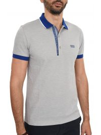 BOSS ATHLEISURE POLO PAUL 4 SLIM FIT  PIMA COTTON ΜΠΛΕ-ΓΚΡΙ