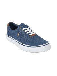 RALPH LAUREN ΠΑΠΟΥΤΣΙ SNEAKERS THORTON COTTON DENIM ΜΠΛΕ