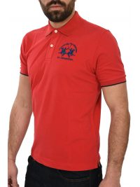 LA MARTINA POLO REGULAR FIT STRETCH LOGO ΚΟΚΚΙΝΟ
