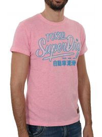 SUPERDRY T-SHIRT ΚΜ ΣΤΑΜΠΑ ΡΟΖ