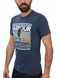 BARBOUR STEVE McQUEEN T-SHIRT RACER/ACTOR ΦΛΑΜΜΑ ΛΙΛΑ