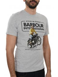 BARBOUR STEVE McQUEEN T-SHIRT COOLER ΜΕΛΑΝΖΕ ΓΚΡΙ