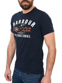 BARBOUR INTERNATIONAL T-SHIRT BIKE STRIPES ΜΠΛΕ