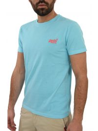 SUPERDRY T-SHIRT ΚΜ LOGO ΣΙΕΛ