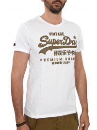 SUPERDRY T-SHIRT ΚΜ ΣΤΑΜΠΑ ΛΕΥΚΟ