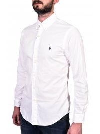 RALPH LAUREN ΠΟΥΚΑΜΙΣΟ BUTTON DOWN SLIM FIT FEATHER WEIGHT TWILL ΛΕΥΚΟ