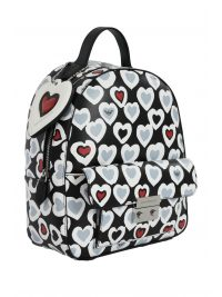 EMPORIO ARMANI ΤΣΑΝΤΑ BACKPACK ALLOVER PRINT ΚΑΡΔΙΕΣ ΜΑΥΡΟ