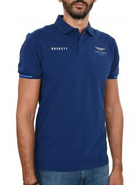 HACKETT POLO SLIM FIT TAPE ASTON MARTIN SHOULDER ΜΠΛΕ