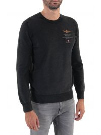 AERONAUTICA MILITARE ΠΛΕΚΤΟ ROUND NECK REGULAR FIT LOGO ΜΑΥΡΟ