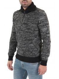 BOSS CASUAL ΠΛΕΚΤΟ HALF ZIP TURTLE NECK AKUANES ΓΚΡΙ-ΜΑΥΡΟ