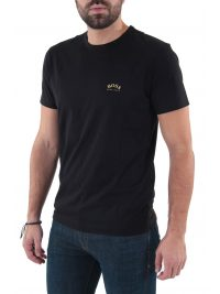 BOSS ATHLEISURE T-SHIRT TEE CURVED BLACK GOLD CAPSULE ΜΑΥΡΟ