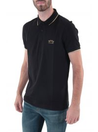 BOSS ATHLEISURE POLO SLIM FIT PAUL CURVED BLACK GOLD CAPSULE ΜΑΥΡΟ