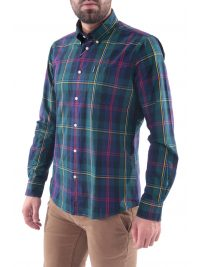 BARBOUR ΠΟΥΚΑΜΙΣΟ HIGHLAND BUTTON DOWN TAILORED FIT ΚΑΡΩ ΠΡΑΣΙΝΟ