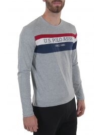 U.S. POLO ASSN T-SHIRT ROUND NECK TRICOLOR STRIPE ΓΚΡΙ