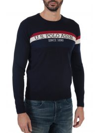 U.S. POLO ASSN ΠΛΕΚΤΟ ROUND NECK TRICOLOR STRIPE ΜΠΛΕ