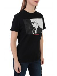 KARL LAGERFELD T-SHIRT LEGEND COLORBLOCK ΜΑΥΡΟ