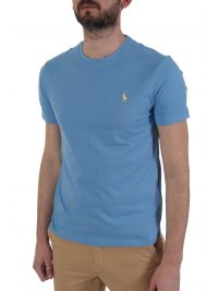 RALPH LAUREN T-SHIRT  LOGO CUSTOM SLIM FIT ΣΙΕΛ