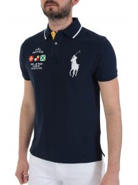 RALPH LAUREN POLO  BIG PONY CUSTOM SLIM FIT ΜΠΛΕ