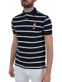 RALPH LAUREN POLO ΡΙΓΕ BEAR CUSTOM SLIM FIT ΜΠΛΕ