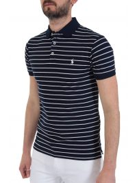 RALPH LAUREN POLO ΡΙΓΕ LOGO  SLIM FIT STRETCH MESH ΜΠΛΕ
