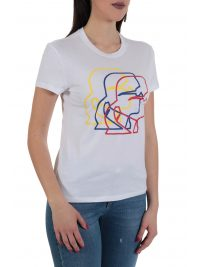 KARL LAGERFELD T-SHIRT MULTICOLOR 3D PROFILE TEE ΛΕΥΚΟ