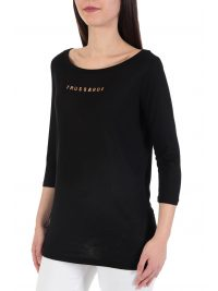 TRUSSARDI T-SHIRT MM PURE VISCOSE  LOGO ΜΑΥΡΟ