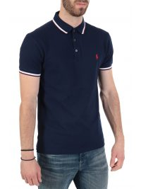 RALPH LAUREN POLO  LOGO  SLIM FIT STRETCH MESH ΜΠΛΕ