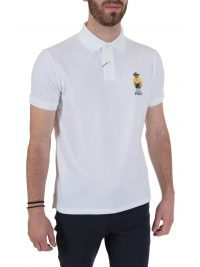 RALPH LAUREN POLO LOGO BEAR CUSTOM SLIM FIT ΛΕΥΚΟ