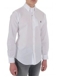 RALPH LAUREN ΠΟΥΚΑΜΙΣΟ BUTTON DOWN CUSTOM FIT COTTON STRETCH ΛΕΥΚΟ