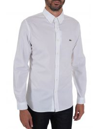 LACOSTE ΠΟΥΚΑΜΙΣΟ SLIM FIT STRETCH BUTTON DOWN ΛΕΥΚΟ