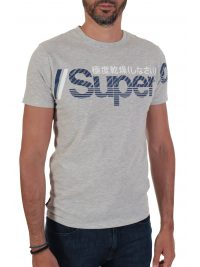SUPERDRY T-SHIRT CORE SPLIT LOGO ΓΚΡΙ