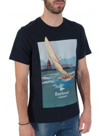 BARBOUR  INTERNATIONAL T-SHIRT TAILORED FIT OUTBOARD ΜΠΛΕ