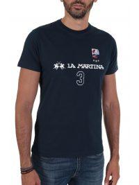 LA MARTINA T-SHIRT REGULAR FIT  FLAG ΜΠΛΕ